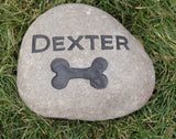 Personalized Pet Memorial Stone with Bone 5-6 Inch Memorial Burial Headstone Grave Marker Tombstone