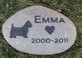 Westie Memorial Stone, Gravestone, Garden Marker, Any Breed  8-9 Inch