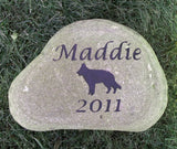 Pet Memorial Stone, German Shepherd, Headstone Marker 7-8 Inch
