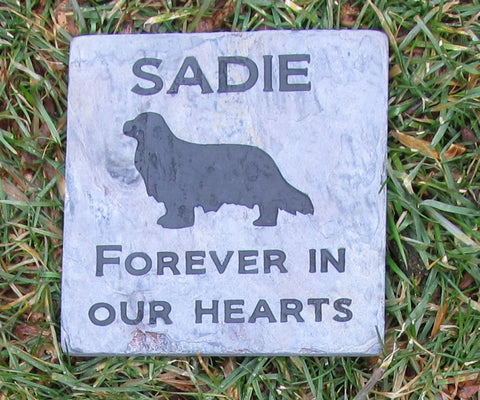 King Charles Pet Memorial Stone, Headstone, Pet Grave Marker 6 x 6 Slate - MainlineEngraving.Com