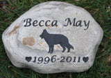Personalized Pet Memorial Stone German Shepherd Memorial Burial Gravestone Marker 9 - 10 Inch Memorial Stone Grave Marker & Other Breeds - Pet Memorial Stones, Personalized Pet Stone Memorial Grave Marker, Dog Memorial, Cat Memorials, Pet Gravestone Markers, Headstone