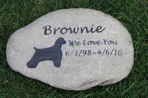 Pet Memorial Stone, Grave Marker, Cocker Spaniel 9-10 Inches