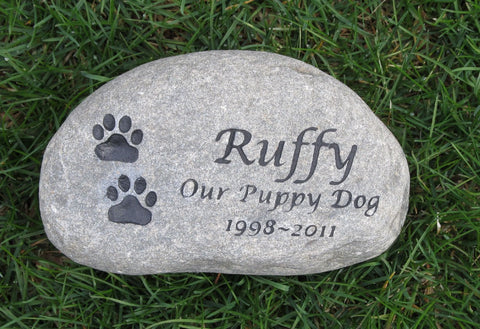 PERSONALIZED Pet Memorial Stone Grave Marker - Memorial Burial Stone Marker 8-9 Inch