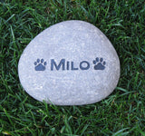 Pet Memorial Stone, Dog or Cat w/Paw Prints 6-7 Inch
