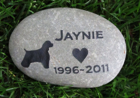 Pet Memorial Stone, Cocker Spaniel, Dog Memorial, Garden Stone 8-9 Inch