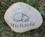 Personalized Sleeping Cat Memorial Stone Engraved Rock Grave Marker 7-8 Inch Memorial Headstone Burial Cemetery Stone Marker