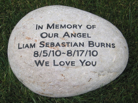 Personalized Memorial River Stone 10-11 Inch Engraved Memorial Stone Marker Natural Stone Garden Memorial Stone