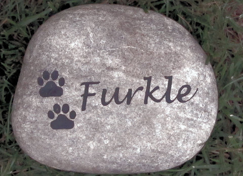 Pet Memorial Gravestone Headstone for Dog or Cat Memorial Grave Marker With Paw Prints 5-6 Inch Pet Stone Memorial Burial Stone Marker