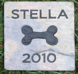 Pet Grave Marker, Memorial Stone, Burial Cemetery Marker w/ Dog Bone 6 x 6 Inch Slate - MainlineEngraving.Com
