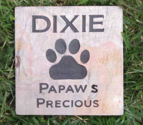 PERSONALIZED Memorial Stone Pet Dog or Cat Grave Marker 6 x 6 Inch Burial Stone Marker