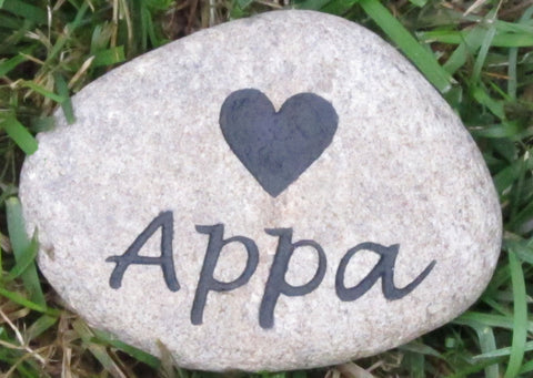Pet Memorial Stone Rock with Heart 4-5 Inch