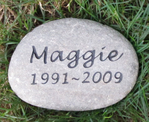 Pet Memorial Headstone Grave Marker Engraved Sandblasted River Stone for Dog Cat Pet 7-8 Inch Memorial Burial Pet Stone Gravestone Marker