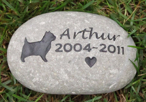 Cairn Terrier Pet Memorial Stone Cairn Terrier Memorial Cemetery Stone Grave Marker 9-10 Inch