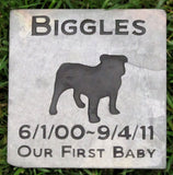 Pet Memorials, Bulldog Memorial Stone, Outdoor Garden Stone 6 x 6 Inch