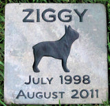 Boston Terrier Pet Memorial Stone Headstone Boston Terrier Stone Marker Garden Memorial 6 x 6 Inches