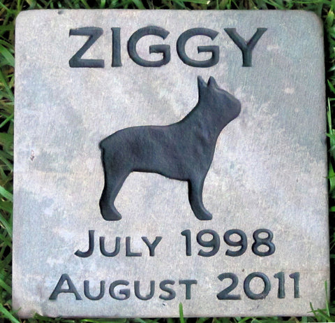 Pet Memorial Stone, Headstone, Boston Terrier, Marker 6 x 6 Inches