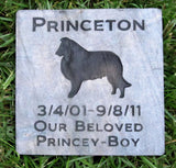 Sheltie Memorial Stone Sheltie Memory Stone Pet Memorial Headstone Grave Marker Pet Stone Sheltie Memorials - Pet Memorial Stones, Personalized Pet Stone Memorial Grave Marker, Dog Memorial, Cat Memorials, Pet Gravestone Markers, Headstone