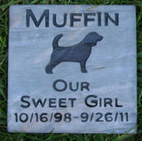 Pet Memorial Stone, Beagle Grave Marker, Memorial Headstone, Pet Stone Memorial 6 x 6 Slate All Breeds Available