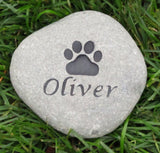 Pet Memorial Stone With Paw Print 4-5 Inch Pet Memorial Cemetery Burial Stone Grave Marker