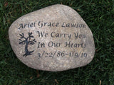 Garden Stone Memorial, Friend, Child, Family, Memorial Tree Marker 10-11 Inch