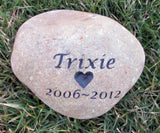 Personalized Pet Memorial Stone Memorial with Heart 6-7 Inch Memorial Burial Headstone Marker