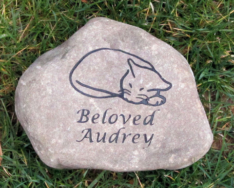 Cat Memorial Stone, Grave Marker, Headstone 7-8 Inch Pet Stone