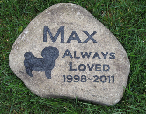 Pet Memorial Stone, Bichon Frise, Gravestone, Tombstone, Pet Grave Marker 8-9 Inch - MainlineEngraving.Com