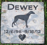Pet Memorial Stone Greyhound Memorial Stone 6 x 6 Slate - MainlineEngraving.Com