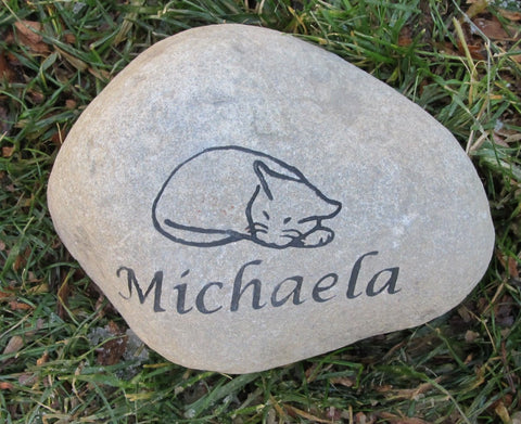 Cat Pet Memorial Stone, Garden Grave Headstone Marker 6-7 Inch