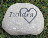 Pet Memory Stone Grave Marker with Interlocking Heart 6 - 7 inch