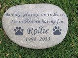 PERSONALIZED Pet Memorial Stone Memorial Burial Cemetery Stone Pet Memorial 11-12 Inch Pet Garden Stone Memorial