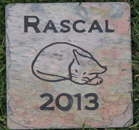 Cat Pet Memorial Stone, Headstone, Tombstone 6 x 6 Inch Slate