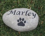 Pet Memorial Headstone, Stone Grave Marker w/Paw Print 6-7 Inch