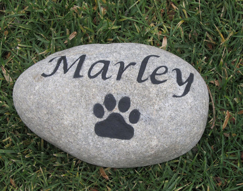 Personalized Pet Memorial Stone Grave Marker w/Paw Print 9-10 Inch Memorial Burial Pet Stone Tombstone Grave Marker