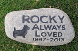 Personalized Pet Memorial Stone Headstone Gravestone Cairn Terrier Memorial Burial Stone 10 - 11 Inch Tombstone & Other Breeds - Pet Memorial Stones, Personalized Pet Stone Memorial Grave Marker, Dog Memorial, Cat Memorials, Pet Gravestone Markers, Headstone