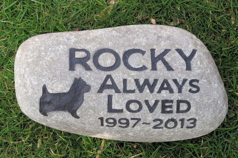 Pet Memorial Stone, Cairn Terrier ,Headstone, Gravestone 10-11 Inch
