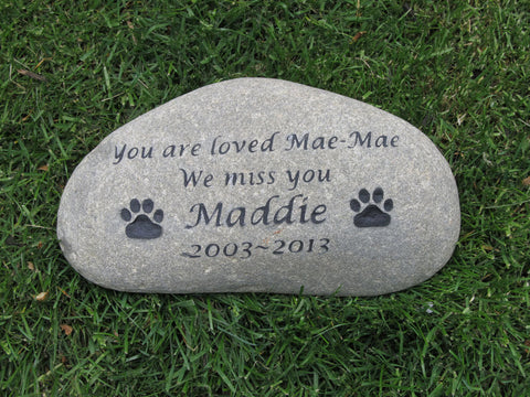Pet Memorial Stone, Grave Marker, Garden Burial Stone 10-11 Inches