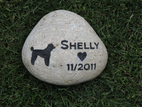 Poodle Pet Memorial Stone Poodle Memory Stone Grave Stone 8-9 Inch Memorial Gravestone Burial Marker