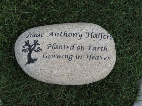 Personalized Memorial Stone Tree of Life Memorial 10-11 Inch Memorial Garden Stone Marker Loss of Child Father Mother Brother Sister Friend
