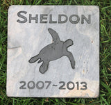 Pet Turtle Memorial Stone 6 x 6 Inch Slate Memorial Stone Marker - MainlineEngraving.Com