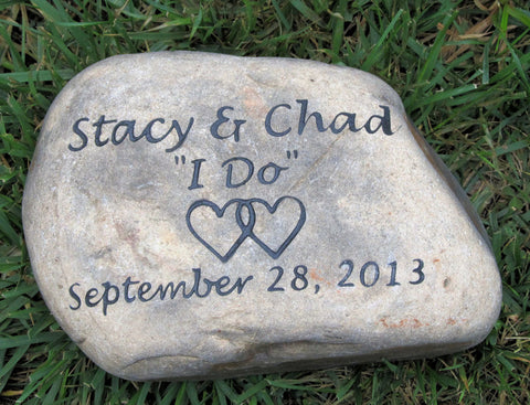 Personalized Wedding Oathing Stone 10-11 Inch Oath Stone Wedding Gift Engagement Gift with Intertwined Hearts
