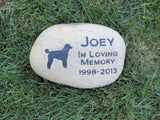 Poodle Memorial Stone Grave Marker 9-10 Inch
