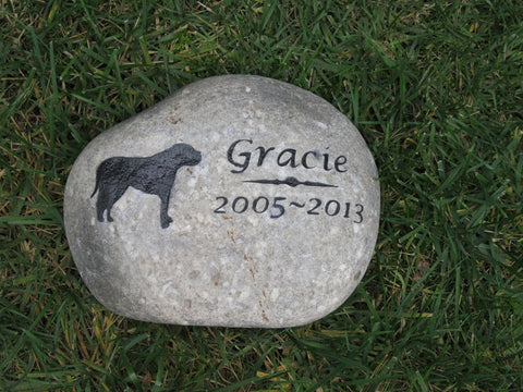 Pet Memorial Stone, Mastiff, Gravestone 9-10 Inches Memorial Garden Stone