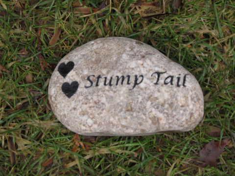 Pet Memorial Stone, Grave Marker, Headstone with 2 Hearts 7-8 Inch
