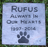 Personalized Pet Memorial Stone Grave Marker 6 X 6 with Dates and Paw Prints Memorial Stone Gravestone Headstone Marker Mutt Memorial Stone