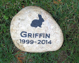 Rabbit Pet Memorial Stone Bunny Grave Marker 7-8 Inch
