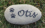 Personalized Pet Memorial Stone Burial Stone Grave Marker for Dog or Cat with Paw Prints Garden Memorial 5-6 Inch