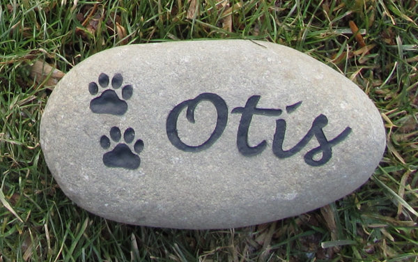 Pet Burial Stone Grave Marker For Dog Or Cat With Paw Prints 5 6 Inch