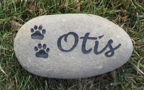 Pet Burial Stone Grave Marker for Dog or Cat with Paw Prints 6-7 Inch - MainlineEngraving.Com