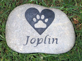 Personalized Stone Pet Memorial for Dog or Cat Pet Stone 7-8 Inch Memorial Cemetery Burial Stone Grave Marker with Paw Print in Heart